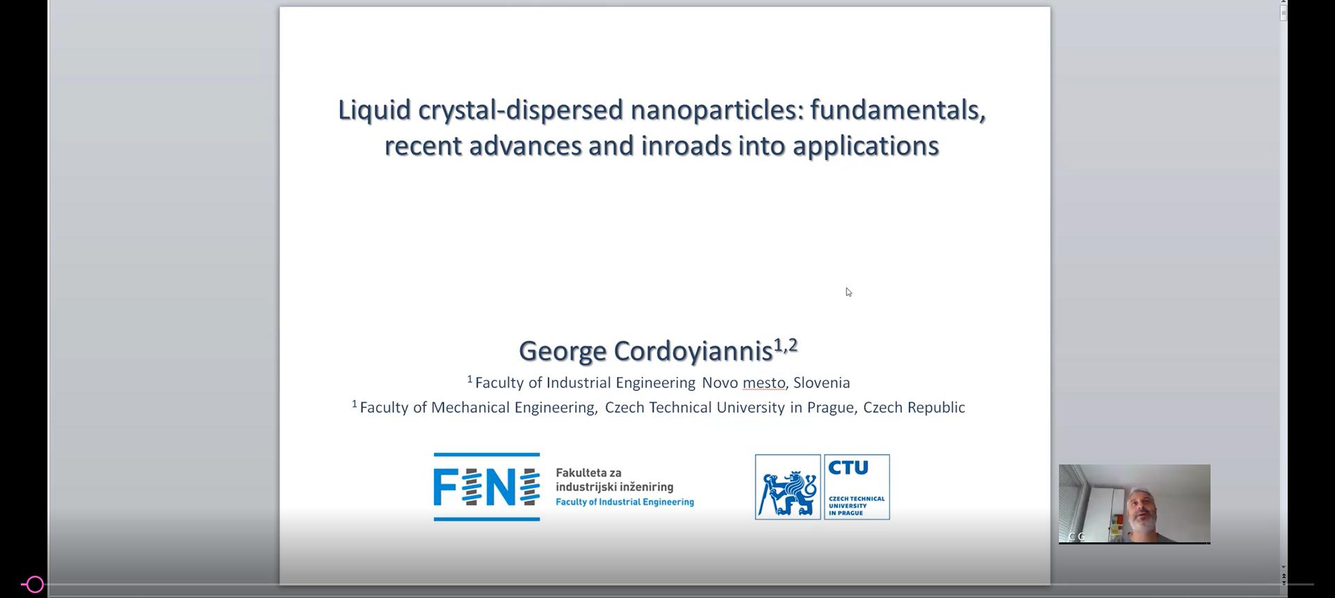 "Webinar: ""Liquid-crystal dispersed nanoparticles: fundamentals, recent advances and inroads into applications"""