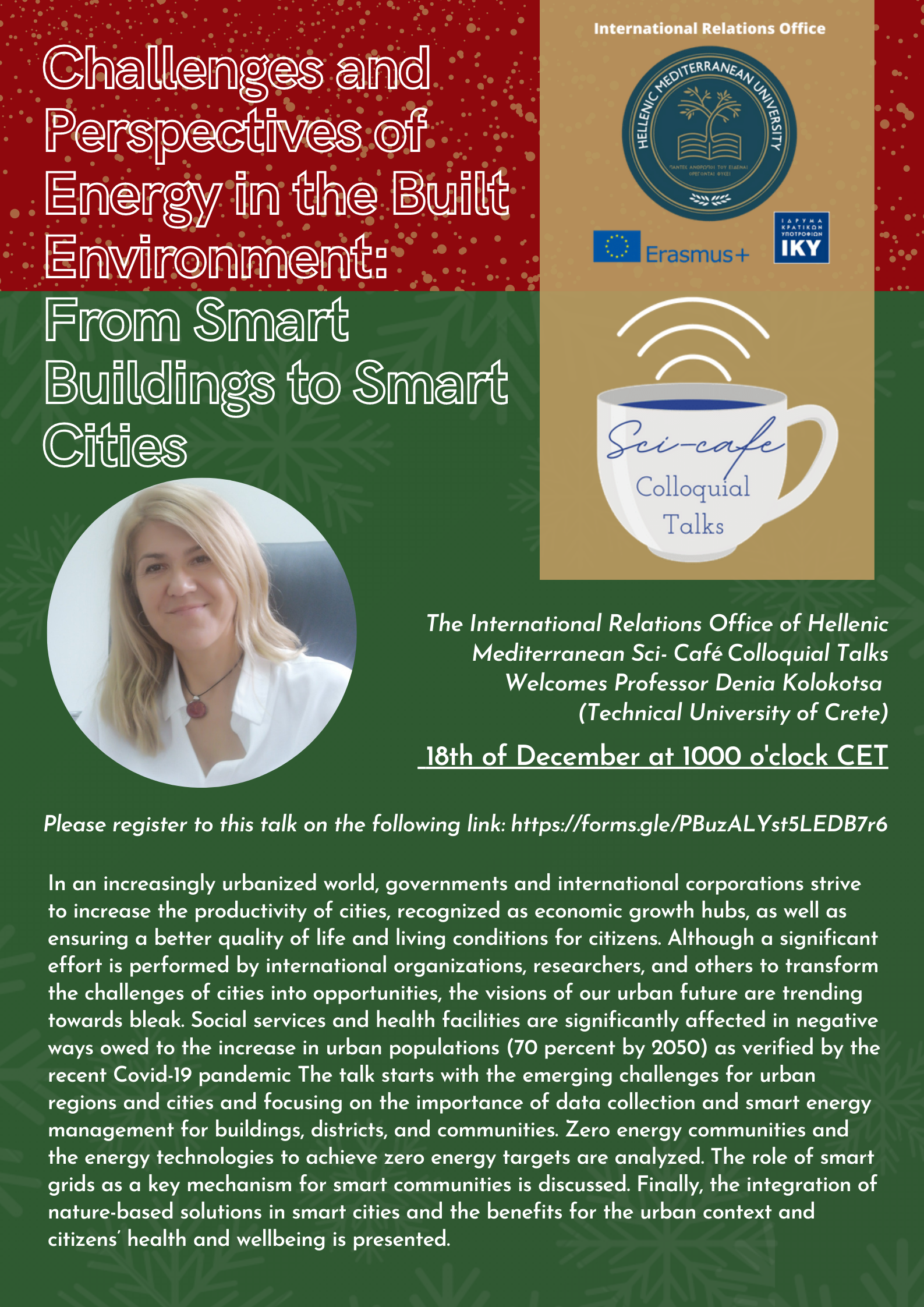 Webinar: Challenges and Perspectives of Energy in the Built Environment: From Smart Buildings to Smart Cities
