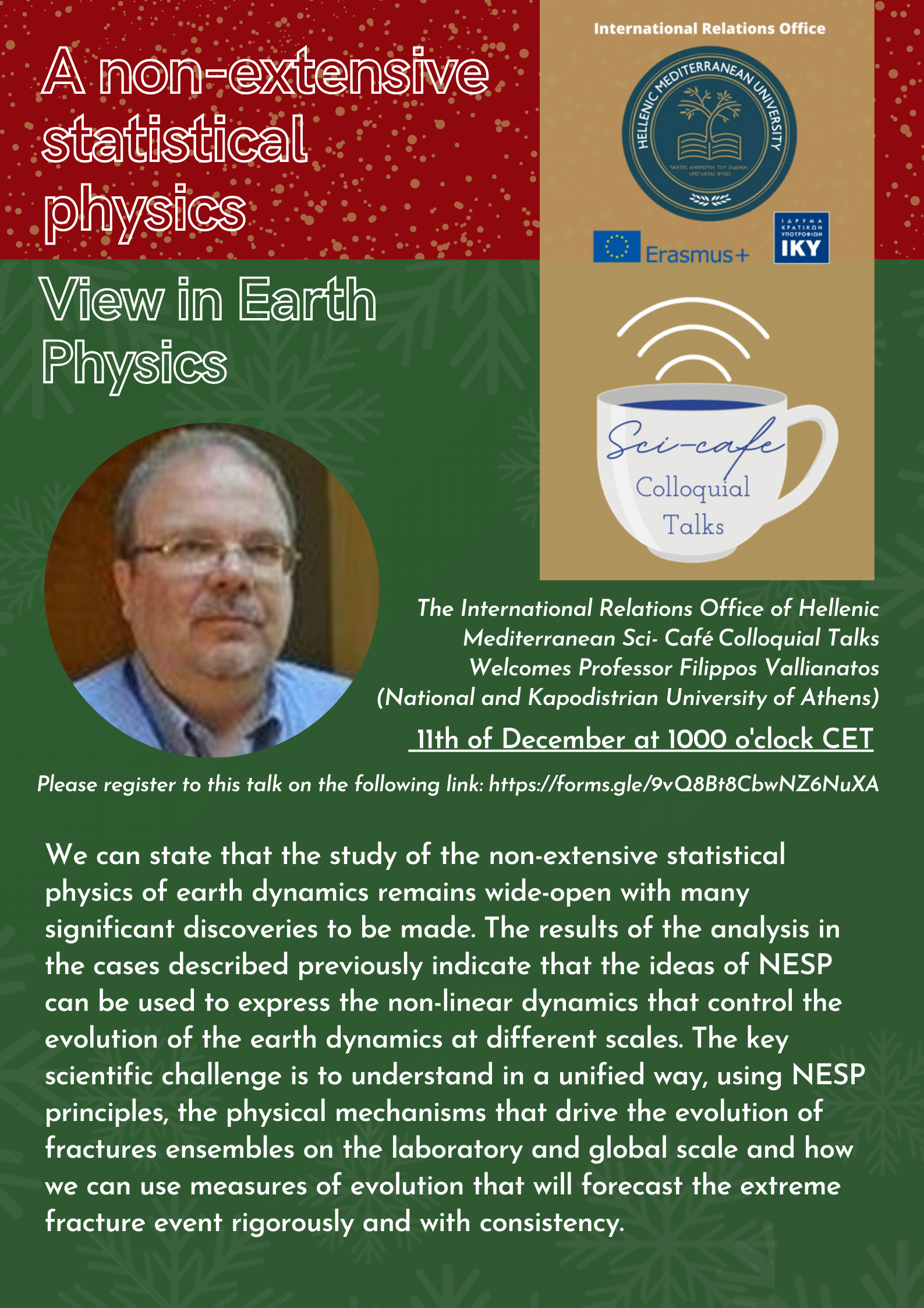 Webinar: A non –extensive statistical physics –View in Earth Physics