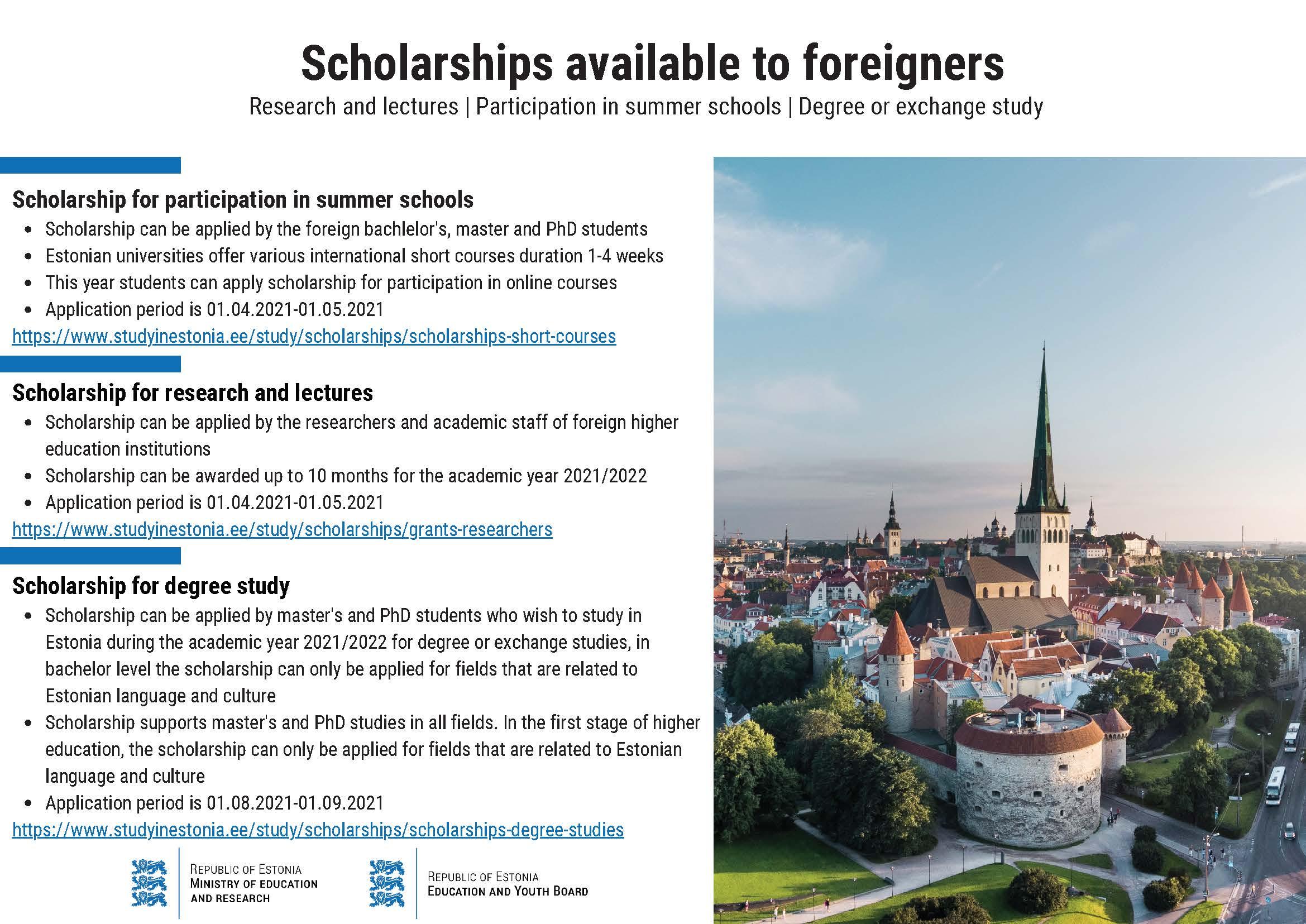ESTONIJA - štipendije za profesorje, raziskovalce, študente ter za poletne šole 2021-2022